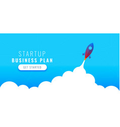 startup business plan concept design with flying vector image