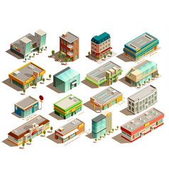 Store buildings isometric icons set vector