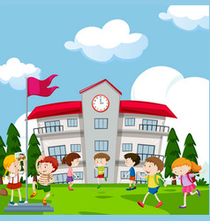 Students playing in front of school vector