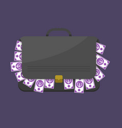 suitcase with euro banknotes vector image