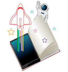 Tablet with astronaut and spaceship isolated vector