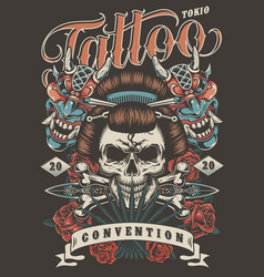 tattoo convention in tokio colorful poster vector image
