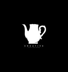 Tea pot stylish monogram icon design template vector