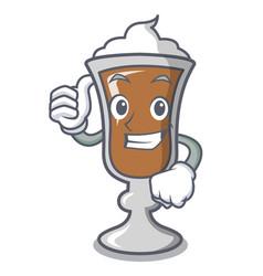 thumbs up irish coffee character cartoon vector image