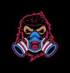 toxic gorilla head vector image