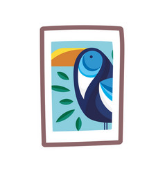 Tropical toucan bird in frame picture isolated vector
