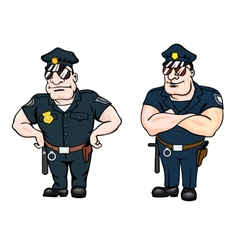 Two large beefy determined police officers vector image