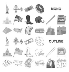 Usa country monochrom icons in set collection for vector