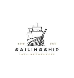 vintage retro line art sailing ship logo design vector image