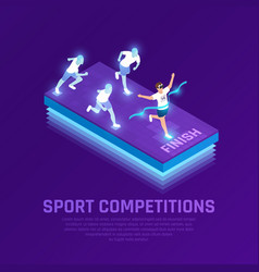 vr sport competition isometric composition vector image