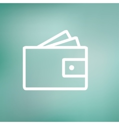 Wallet with money and credit card thin line icon vector image