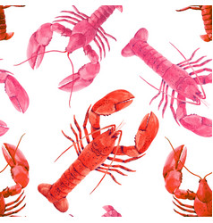 watercolor sea life lobster pattern vector image
