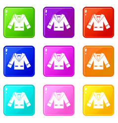 wedding groom suit icons set 9 color collection vector image