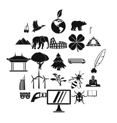 world heritage icons set simple style vector image
