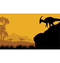 At the morning parasaurolophus silhouette in hills vector image vector image