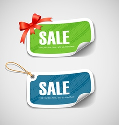 Colorful label and tag paper with ribbon vector image