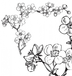antique flowers corner engraving vector image