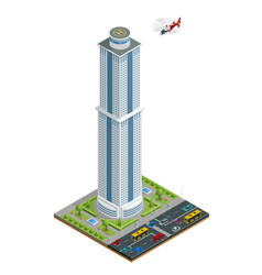 isometric skyscraper with helipad on the roof vector image vector image