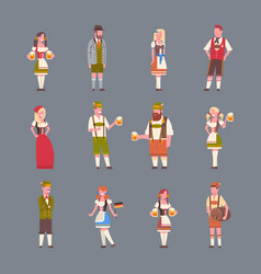 people wearing german traditional clothes set of vector image vector image