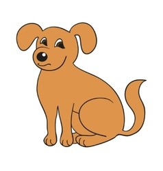 Red cute smiling dog on white background vector image vector image