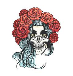 skull in rose wreath vector image