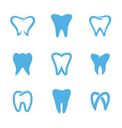 teeth logo white vector image vector image