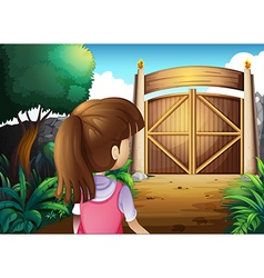 A young girl with a pink shirt going to the gate vector image vector image