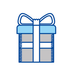 blue contour of gift box with decorative ribbon in vector image vector image