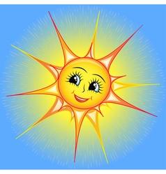 bright cartoon of a smiling sun i vector image vector image