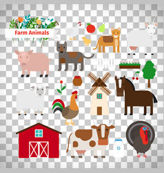 farm animals on transparent background vector image