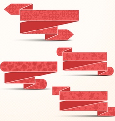 Pink ribbons with different textures vector image vector image