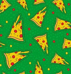 Retro hand drawn stitch patch pizza background vector image