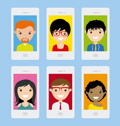 set of smartphone with photo vector image