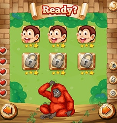 Game template with monkey background vector image vector image