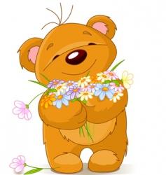 teddy bear giving a bouquet vector image vector image