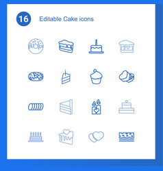 16 cake icons vector image