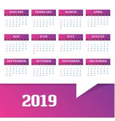 2019 calendar template background vector image