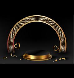3d minimal luxury podium golden in front black vector