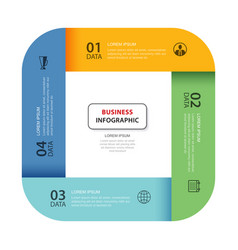 4 data infographics tab paper index template vector