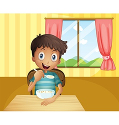 A boy eating cereals inside the house vector