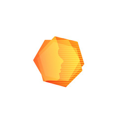 Abstarct orange geometric shape human face in vector
