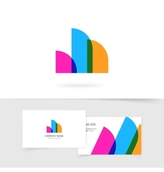 Abstract logo element of three rounded vector image vector image