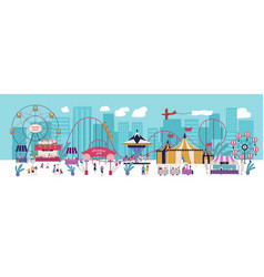 Amusement park with various attractions circus vector