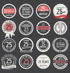 Anniversary retro label collection 25 years vector