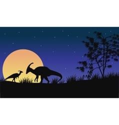 At night parasaurolophus silhouette with moon vector image