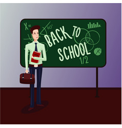 back to school male teacher in a classroom vector image
