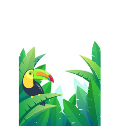 background with bird toucan on palm leaves vector image