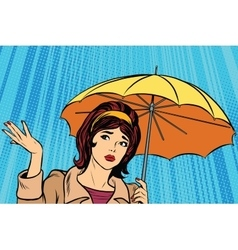Beautiful sad girl in rain with umbrella bad vector
