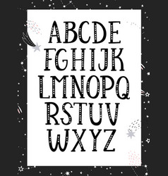 black and white monochrome alphabet vector image