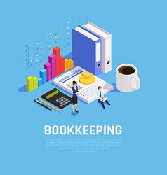 book keeping isometric composition vector image
